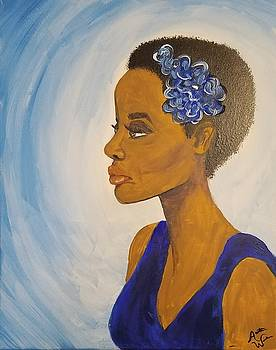 Lady in Blue by Autumn Leaves Art