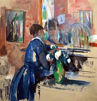 Wouters Rik - Lady In Blue In Front Of A Mirror 1914
