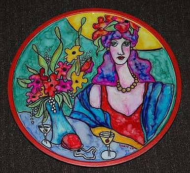Lady in Red Lazy Susan by Mickie Boothroyd