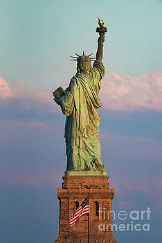 Statue of Liberty and American Flag by Zawhaus Photography