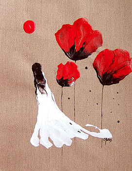 Lady Of The Poppies -Contemporary Abstract Woman Red Flowers Fantasy by Catherine Jeltes