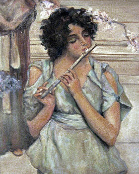 Lady Playing Flute by Donna Tucker