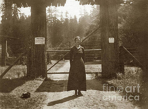 California Views Mr Pat Hathaway Archives - Lady standing on front of Gate to Bohemian Grove Circa 1920