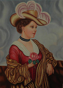 Lady with a Pink Rose by Margit Armbrust