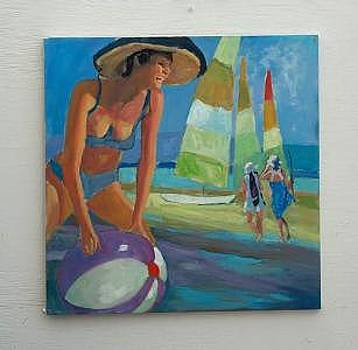 Lady With Beach Ball by Perry  Rubenstein