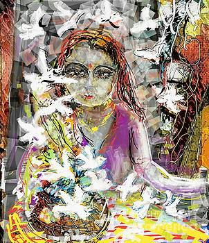 Lady with birds by Subrata Bose