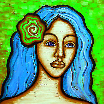Lady with Green Flower by Brenda Higginson