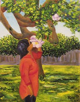 Lady with Magnolia by Runa Bakshi