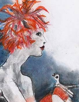 Lady with red wig and bird. by Michael Sime