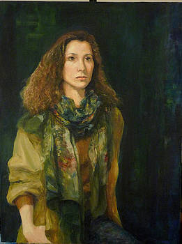 Artist lady with scarf by L Stephen Allen