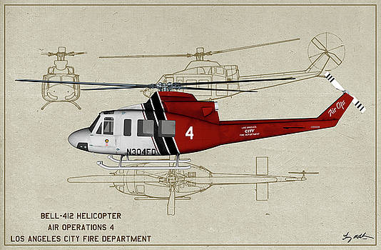 LAFD Bell 412 - Profile Art by Tommy Anderson