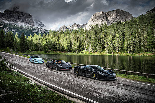 LaFerrari, 488 Spider and GT3RS in the Dolomites by George Williams