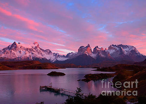 Lago Peho sunrise in Torres del Paine National Park Patagonia by Louise Heusinkveld
