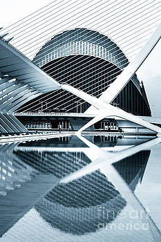 L'Agora building reflected in the pools Valencia Spain by Peter Noyce
