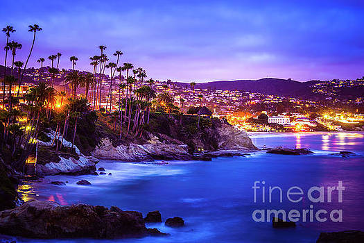 Laguna Beach California City at Night Picture by Paul Velgos