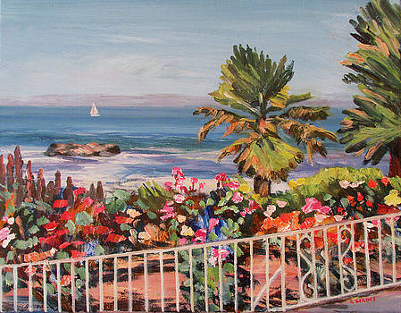 Laguna Beach Flowers and Ocean by Robert Gerdes