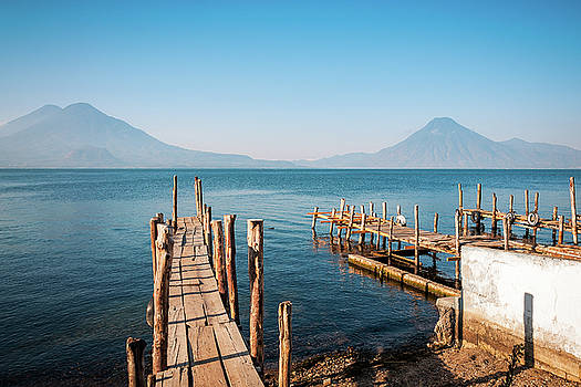 Lake Atitlan and Volcano views from the old pier in Panajachel,  by Daniela Constantinescu