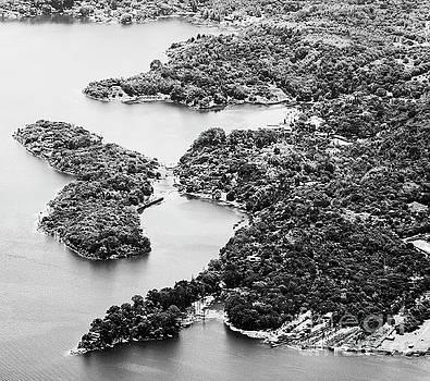 Tim Hester - Lake Atitlan Shoreline Town Black and White