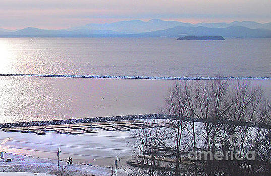 Felipe Adan Lerma - Lake Champlain South From Atop Battery Park Wall Detail #2