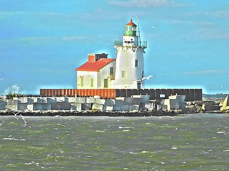 Lake Erie Lighthouse Paint Effect Series 2 by Nancy Spirakus