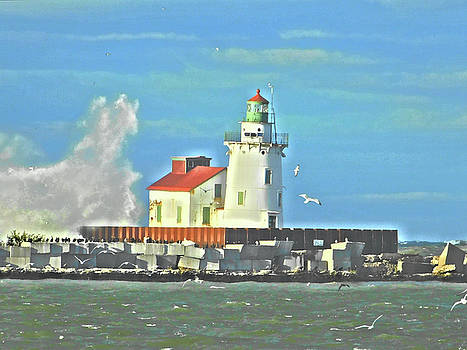 Lake Erie Lighthouse Paint Effect Series 4 by Nancy Spirakus
