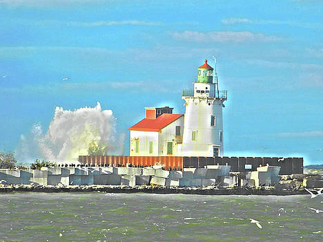 Lake Erie Lighthouse Paint Effect Series 6 by Nancy Spirakus