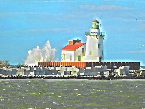 Lake Erie Lighthouse Paint Effect Series 8 by Nancy Spirakus