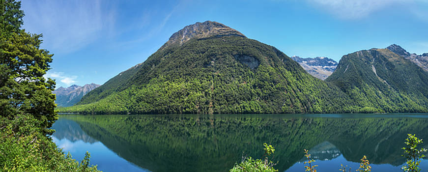 Lake Gunn Panorama with Reflections in Water by Daniela Constantinescu