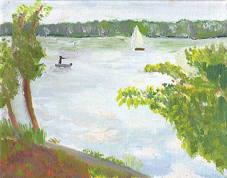 Lake Harriet with Sailboat and Angler by Paul Thompson