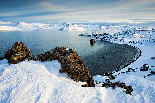 Lake Kleifarvatn Iceland in winter by Matthias Hauser