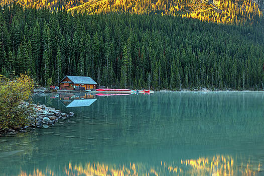 Lake Louise Canoe Shack in Autumn by Pierre Leclerc Photography
