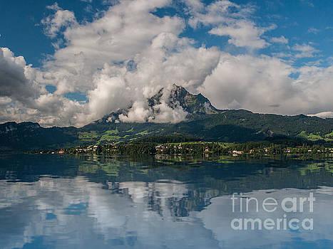 Lake Lucerne sky reflection by Barbara Dudzinska