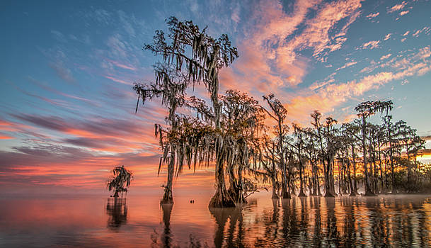 Lake Maurepas on fire by Andy Crawford