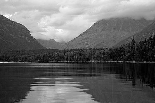 Lake McDonald Reflection Black and White 02 by Bruce Gourley