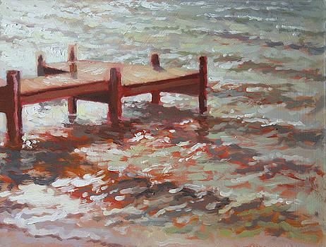 Lake Metonga Dock -Plein air by Larry Seiler