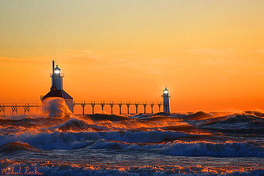 Lake Michigan Lighthouse by Michael Rucker