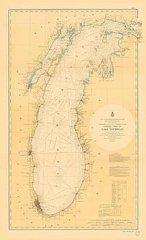 Lake Michigan Nautical Map by Fran Riley