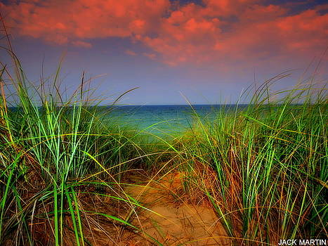 Lake Michigan Serenity Sunset Beachgrass by Jack Martin