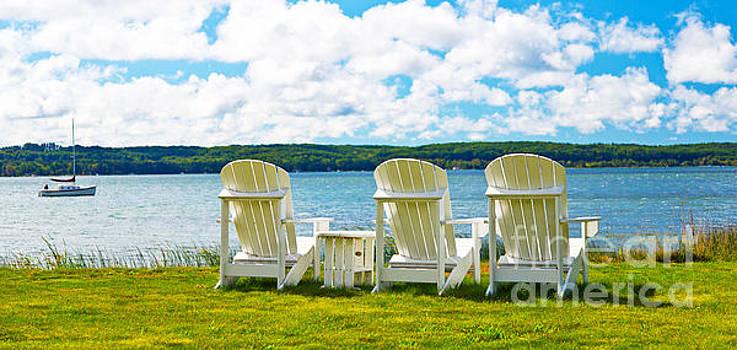 Lake Michingan Adirondack Chairs on the Shore by ELITE IMAGE photography By Chad McDermott