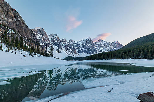 Moraine Lake at Sunset by M C Hood