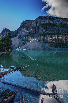 Lake Moraine Reflection Logscape by Mike Reid