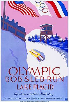 Lake Placid Olympic bobsled run, poster 1937 by Vintage Printery