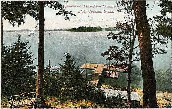 Lake Side Landscape With Trees And Boat by Gillham Studios