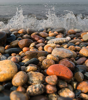 Lake Superior Colored Rocks Shore by J Thomas