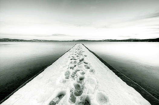 Lake Tahoe Footprints in the Snow  by Dustin K Ryan