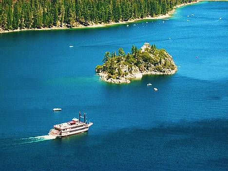 Lake Tahoe-Vikingsholm Tea House Island by Russell  Barton