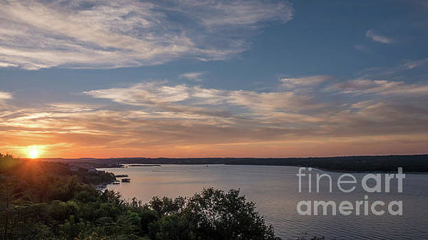 Lake Travis During Sunset with Clouds in the Sky by PorqueNo Studios