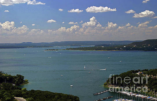 Herronstock Prints - Lake Travis is a for a favorite for Boat Recreation and water skiing