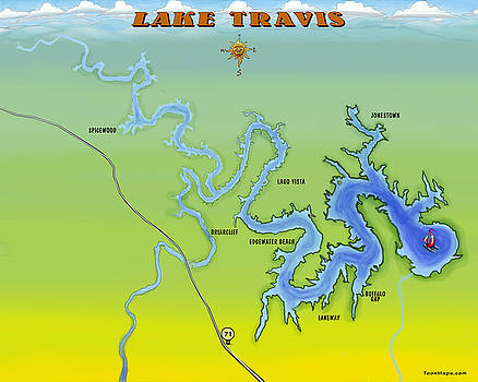 Kevin Middleton - Lake Travis Texas Cartoon Map