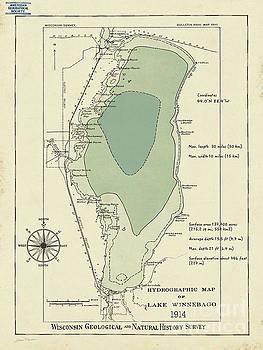 Lake Winnebago Hydrographic Map by Jean Plout